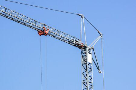 Close up details of a crane's . metal crane used in construction . Banco de Imagens - 125478392