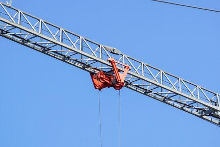 Close up details of a cranes . metal crane used in construction Banco de Imagens