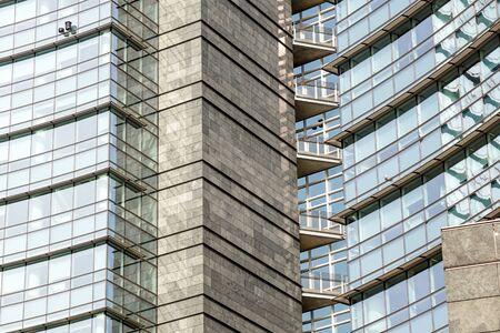 Blue skyscraper facade. office buildings. modern glass Banco de Imagens - 125478468