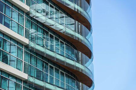 MILAN, ITALY 4 MAY 2019.: Abstract Modern Glass Financial Skyscraper Architecture Detail . Editorial