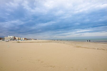 Storm over the beach in Rimini at Ialy . Banco de Imagens