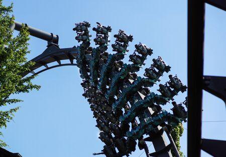 Theme Park Roller Coaster Close up