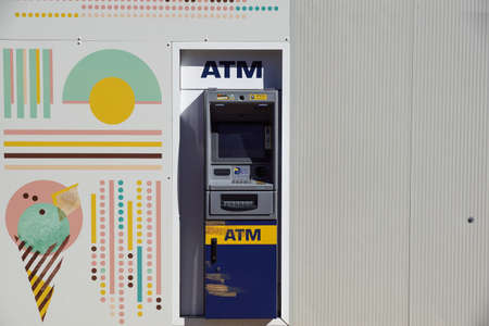 Milan , Italy A June 3, 2019 : ATM cash machine ready to be used without people Editoriali