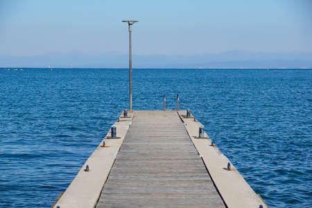 Pier in the sea . jetty over the beautiful sea with blue sky Archivio Fotografico