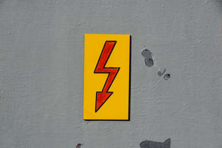 Danger Electrical Hazard High Voltage Sign on wall
