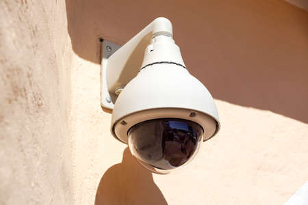 High tech overhead security camera at a government owned building. Archivio Fotografico