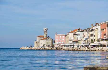 Piran, Slovenia - June, 2020: Piran marina and outdoors during the summer days. Editoriali