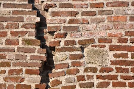 Close up of a cracked brick-wall, texture background