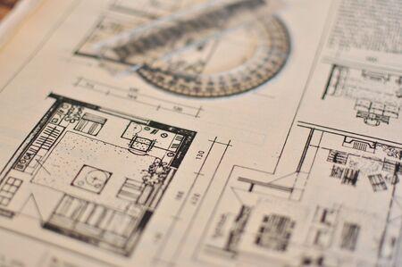 Close up van ruimtelijke planning blauwdruk, het platform achtergrond Stockfoto