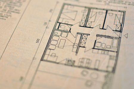 close-up van de ruimtelijke ordening blauwdruk, architectuur achtergrond