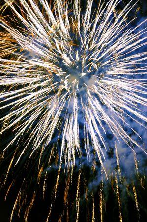 Colorful celebration fireworks at the black sky. photo