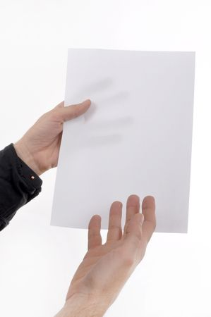 hand written: Man is holding a piece of blank white paper, presentation background image.