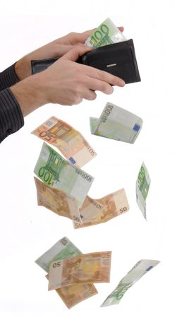 falling out: Man is paying with euro banknotes, money falling out of the pocket