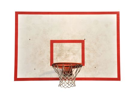 hoops: basketball hoop and a cage with laeves isolated on white, sports background. Stock Photo