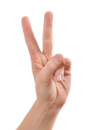 Hand with two fingers up in the peace or victory symbol. Also the sign for the letter V in sign language. Isolated on white. Stock Photo - 6465455