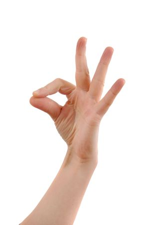 handsignal: Woman hand showing OK sign. Isolated on white.