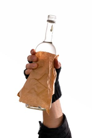 homeless man holding a bottle of vodka, heavy drinking problem. Stock Photo - 6477199