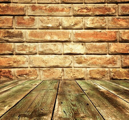 textured wall: Vintage  rusty room detail, wooden textured floor and brick wall texture
