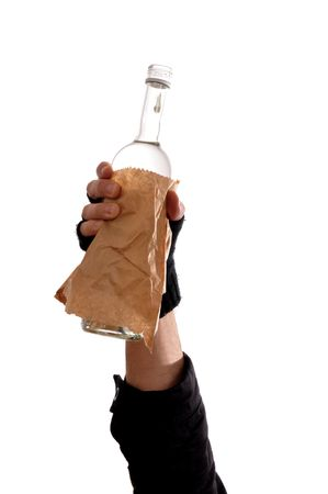 homeless man holding a bottle of vodka, heavy drinking problem. Stock Photo - 6544151