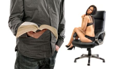 Man is reading a book, woman in lingerie sitting in the back photo