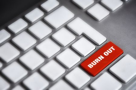 burn out: Computer keyboard detail with Burn out key