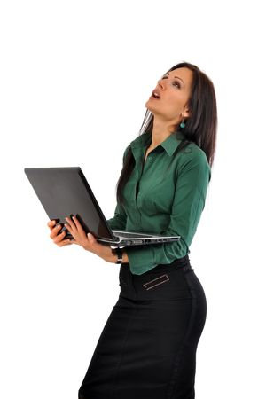 blouse sexy: Young and beautiful business woman with laptop computer in stresfull situation Stock Photo