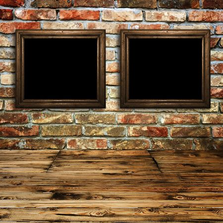 Vintage  rusty room detail, wooden textured floor and brick wall texture with picture frame Stock Photo - 6626883