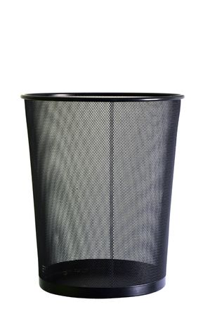 filings: Close-up of a black trash can with a paper in it. Stock Photo