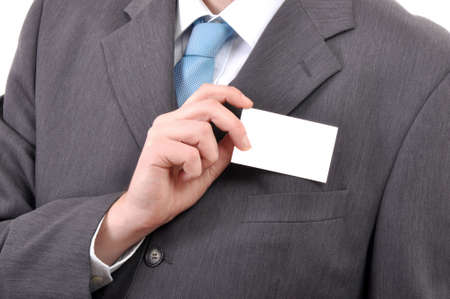 Business man is holding a blank business card Stock Photo - 6656603
