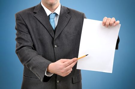 hand written: Man is holding a piece of blank white paper, business presentation scene
