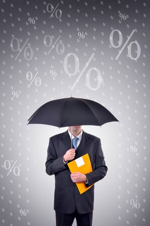 Businessman is holding an umbrella, illustrated rain made of percentage symbols Stock Photo - 6752654