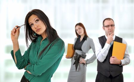 Business situation, manager and a colleague having doundts about young employees ideas. Stock Photo - 6839301