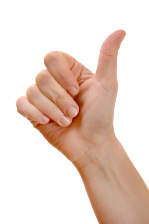thumb up: A thumbs up sign on a white background