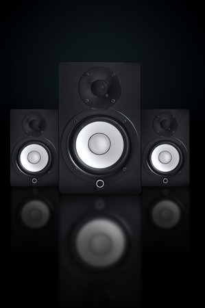 stereo cut: Nicely designed audio speakers, music equipment Stock Photo