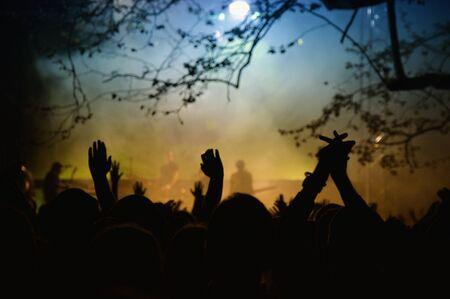 summer festival: the crowd in a open air rock concert Stock Photo