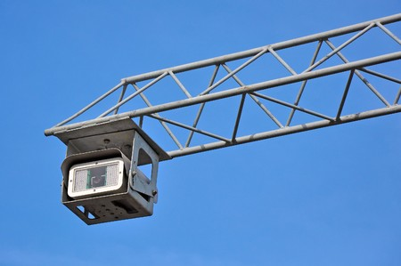 supervision: Road police supervision outdoor video camera against blue sky
