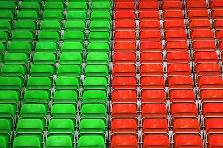 Empty plastic seats at stadium, opendoor sports arena. Stock Photo - 6978996