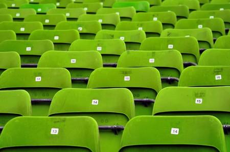 Empty plastic seats at stadium, opendoor sports arena. photo
