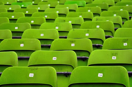 Empty plastic seats at stadium, opendoor sports arena. Stock Photo - 7082448