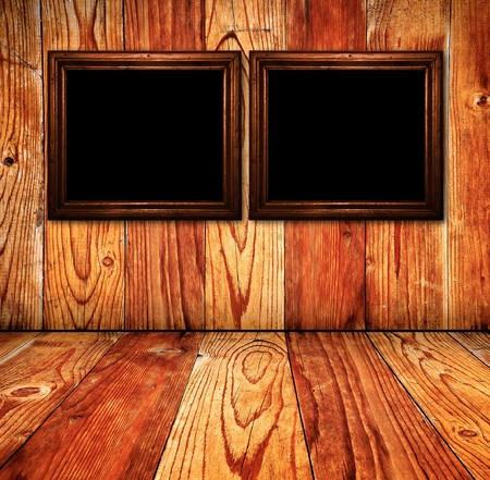 Vintage wooden rusty room detail,wooden textured wall and blank picture frames photo