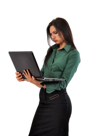 blouse sexy: Young and beautiful business woman with laptop computer