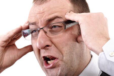 personne en colere: Homme est criant, visage en col�re et de la bouche grande ouverte