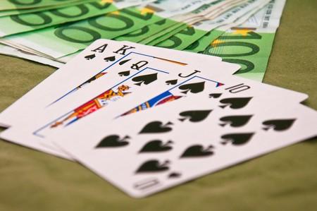 straight flush: Straight flush on the poker table Stock Photo