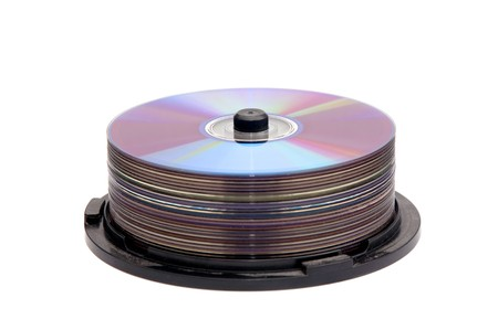 dvdr: Stack of blank CDs, isolated on a white background.
