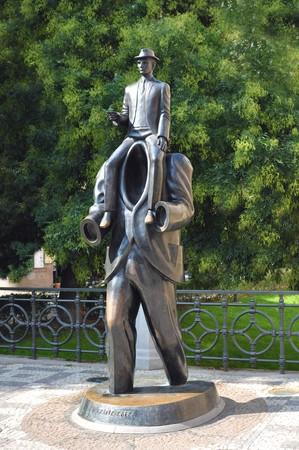 franz: Franz Kafkas statue in a Prague downtown. Stock Photo