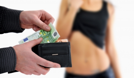 sex: Man is paying for sex in euro banknotes Stock Photo