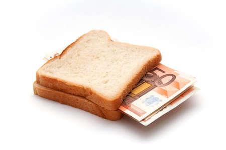Few 50 euro banknotes in toast sandwich