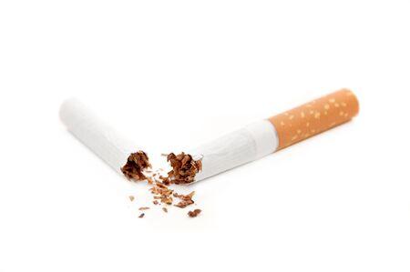 Close up image of a broken cigarette overa white background Stock Photo - 7854634