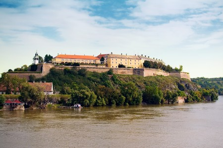 the danube: Petrovaradin Fortress in Serbian town Novi Sad over a Danube river.