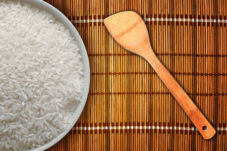 food staple: A bowl full of white rice